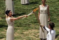 Lighting of the Olympic flame that will burn during the London Games - May 10th 2012, Ancient Olympia
