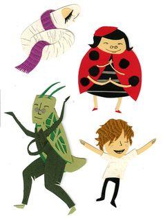 Silkworm, Ladybird,Grasshopper, James