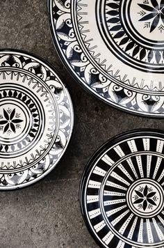 Moroccan black & white dishes