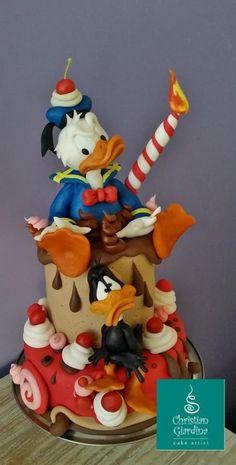 donald duck, daffi duck, angri duck, cake art, duck cake, birthday cakes