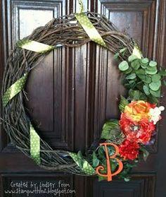 A fun summer/fall monogram wreath- all made for under twenty bucks!