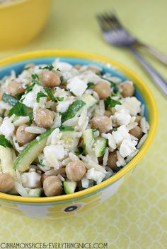 Orzo with Chickpeas, Zucchini and Feta