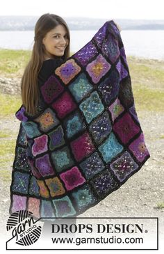 "Crochet DROPS blanket with Granny squares in ""Delight"" and ""Fabel"". ~ DROPS Design"