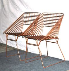 vintage Eames-era metal chairs - geometric square iron 1950s-60s mid century patio chairs. $875.00, via Etsy.