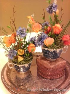 My design friend Monique over at Becker Window Fashions re-purposed these Blue Willow teacups with these sweet arrangements. Love the oranges combined with the blues!