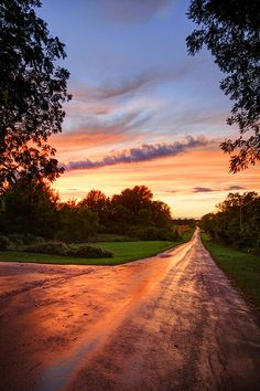 sunset and dirt roads