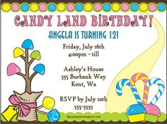 Candy Land Personalized Invitation - could be used for the program etc.
