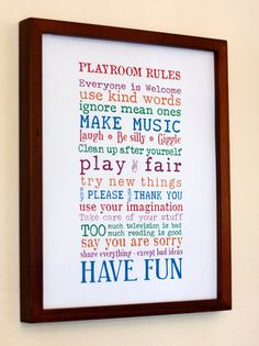Print Your Own - Playroom Rules Sign