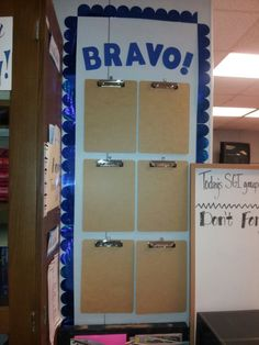 A very decorated high school classroom! - I do something very similar on one of my bulletin boards