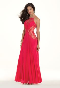 Camille La Vie Chiffon and Lace Pleated Prom Dress