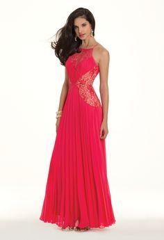 Camille La Vie Chiffon and Lace Pleated Prom Dress