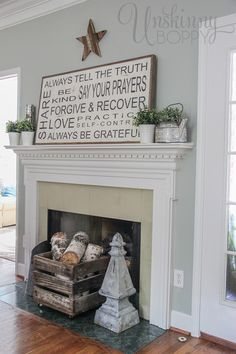 """Pretty Summer Mantel with a handpainted """"Family Rules"""" sign."""