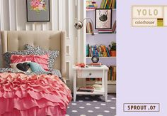 "Sprout .07 is a soft shade of lilac. It's purple without being PURPLE! Create ""sophisticated whimsy"" in your tween's space when you add the pink ruffles of Land of Nod's Fade to Pink bedding."