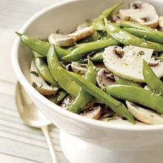 Snap Pea and Marinated Mushroom Salad #SnapPeas