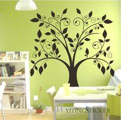 Tree Wall Decal- decor wall sticker art deco tree vinyl 3