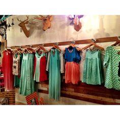 kid display, wooden hanger, clothing merchandising ideas, deer heads, clothing store display ideas