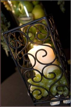 Wrought iron centerpiece with grapes at Messina Hof