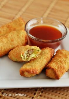 Chicken Egg Rolls and sauce