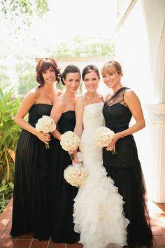 long and elegant black bridesmaids dresses