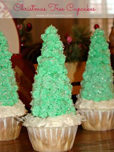 Christmas Tree Cupcakes made with an ice cream cone!