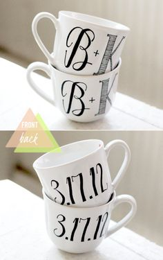 wedding favors, initials, dates, gift ideas, weddings, coffee cups, anniversary gifts, mugs, wedding gifts