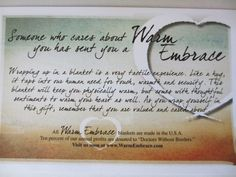 Each blanket is delivered beautifully wrapped, with recipient information (pictured here) describing the symbolism and sentiment behind the gift, as well as a personalized greeting card that you compose at checkout.