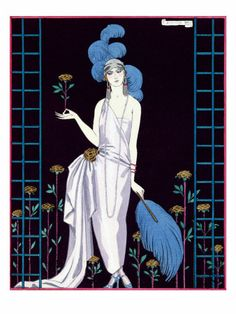 La Roseraie, Fashion Design for an Evening Dress by the House of Worth, Georges Barbier