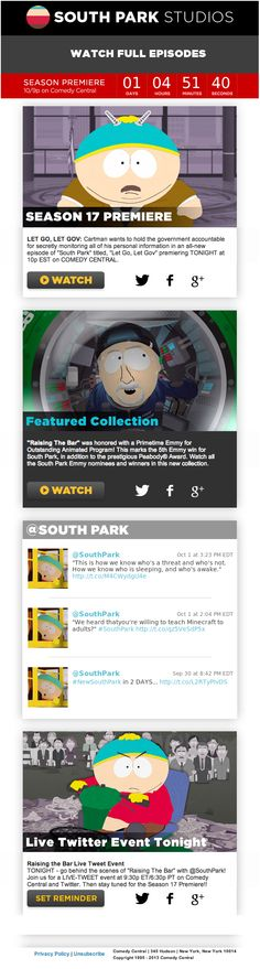 This email from South Park uses a countdown clock to show the time remaining until the season premiere, and includes live tweets. When the email is opened on mobile, a new call-to-action appears at the bottom of the message promoting the South Park Sound Board App. #emailmarketing #socialmedia