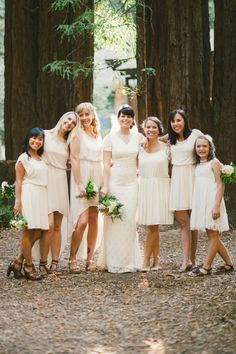 bride and bridesmaids in ivory // photo by EmilyBlakePhotography.com