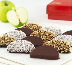 Dipped apple slices, not an entire apple - much easier to eat!