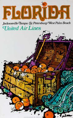 Florida - Jacksonville Tamps/St. Petersburg West Palm Beach, United Air Lines travel poster