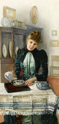 art galleri, tea party painting, tea parti, tea time, françoi bruneri, tea art, teas, afternoon tea, artist
