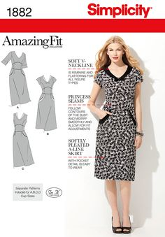 Simplicity 1882 Misses & Miss Petite Dresses Misses Amazing Fit dress with separate pattern pieces for A, B, C, D cup sizes and slim, average and curvy fit. Features princess seams and pleated a-line skirt