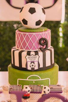 Soccer Themed Birthday Party with So Many Awesome Ideas via Kara's Party Ideas Karas: The Cake