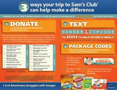 Last weekend to help Outnumber Hunger while shopping at Sam's Club! Donate food, text, or enter special General Mills package codes! #hunger #poverty #FeedingAmerica #AZ #Arizona #Phoenix #Mesa #Chandler #Tempe #Gilbert #Scottsdale