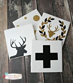 DIY Gifts - Holiday Coasters are super easy to make when you use a Cricut Explore, my favorite die cutting machine! Home Decor, Scrapbooking, vinyl, paper.