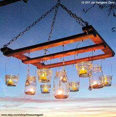 DIY Lanterns 12 WIDE Mouth Hangers, Ball Mason Jar Lanterns Hangers Only -No Jars. $38.00, via Etsy.