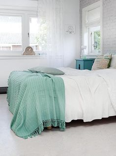 cozy bedroom ♡ turquoise and blue