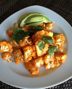 Roasted Buffalo Cauliflower  Makes a great side for chicken or burgers too. #vegan