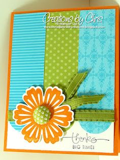 Stampin Up Mixed Bunch card with ribbon