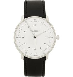 JunghansStainless Steel and Leather Automatic Watch by Max Bill