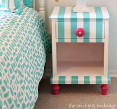 Tutorial for creatively painting children's furniture. Nightstand painted with Velvet Finishes Paint {The Creativity Exchange}