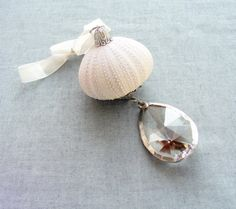crystals, vintag crystal, sea shell, seasid style, vintage, urchin ornament, sea urchins, christma ornament, ornaments