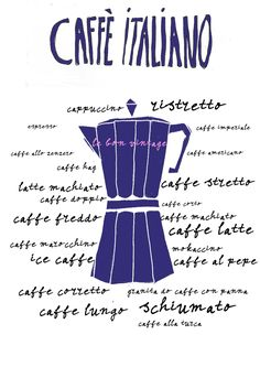 an Italian coffee brewer with all the different types of Italian coffee