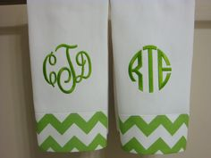 Chevron Green or Yellow Monogrammed Hand Towel or Kitchen Towel. $12.00, via Etsy. green monogram, tea towels, gift ideas, embroidery kitchen towels, chevron green, monogram hand, handtowel, kid bathrooms, hand towels