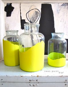 add some colour with paint-dipped glass jars.
