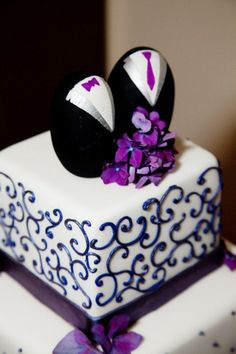 Gay Wedding Cake #Purple #wedding … Wedding #ideas for brides, grooms, parents  planners https://itunes.apple.com/us/app/the-gold-wedding-planner/id498112599?ls=1=8 … plus how to organise an entire wedding, within ANY budget ♥ The Gold Wedding Planner iPhone #App ♥ For more inspiration http://pinterest.com/groomsandbrides/boards/ #same #sex #wedding #gay #lesbian #wedding