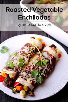 Roasted Vegetable Enchiladas   this can be veganized!