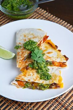 sweet potato and black bean quesadillas with swiss chard pesto. woah.