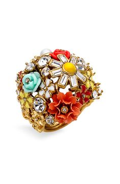 coutur floral, juici coutur, cluster ring, juicy couture, color ring